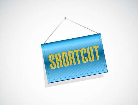 cut short: Shortcut hanging sign concept illustration design graphic