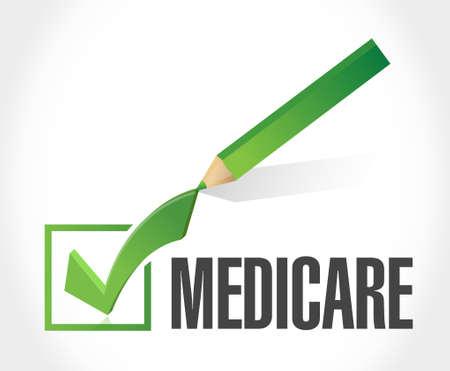 check sign: Medicare check mark sign concept illustration design over white