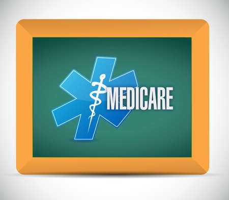 health care provider: Medicare board sign illustration design over white