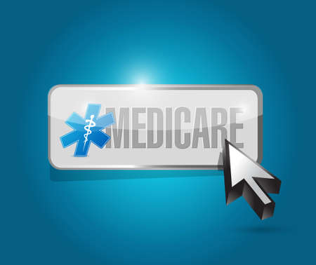 outpatient: Medicare button sign concept illustration design over blue