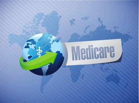 medicaid: Medicare international sign illustration design over blue