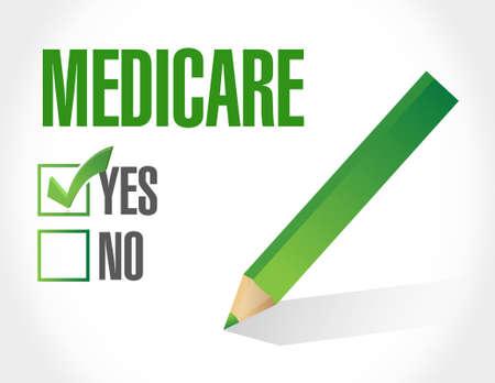 medicaid: Medicare approval sign illustration design over white