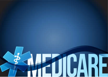 Medicare sign concept illustration design over blue Vettoriali
