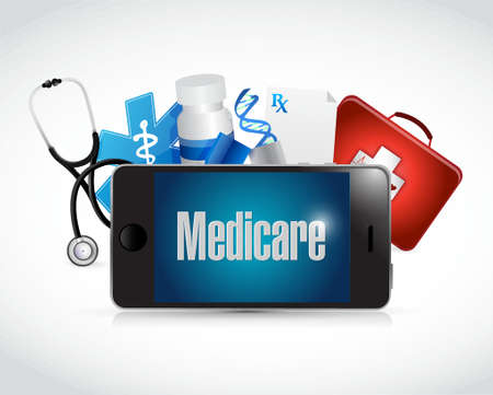 customer service phone: Medicare medical technology sign illustration design over white Illustration