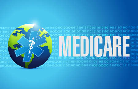 nhs: Medicare international sign concept illustration design over blue
