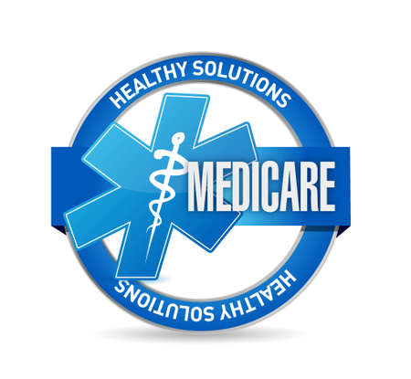 medicare: Medicare seal sign illustration design over white