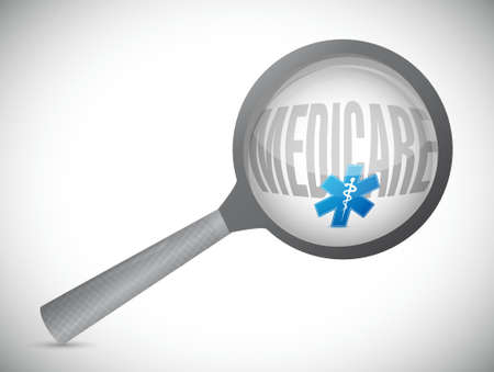 outpatient: Medicare search sign concept illustration design over white