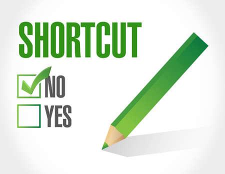 shorter: no Shortcut sign concept illustration design graphic