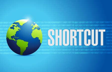 shorter: Shortcut international globe sign concept illustration design graphic Illustration