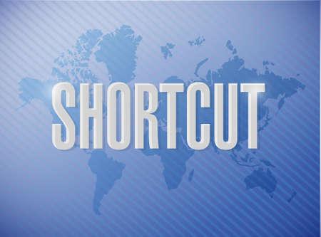 cut short: Shortcut world sign concept illustration design graphic