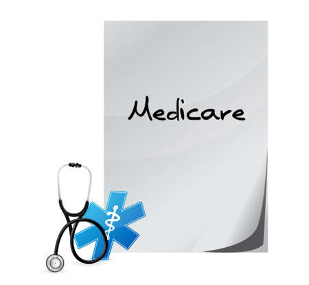 outpatient: Medicare health sign illustration design over white Illustration