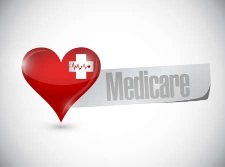 outpatient: Medicare heart sign concept illustration design over white