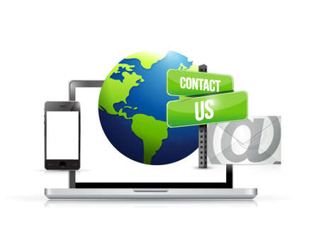 mail us: technology electronics contact us globe mail illustration design graphic Illustration