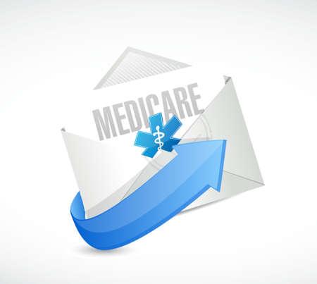 outpatient: Medicare email sign concept illustration design over white Illustration