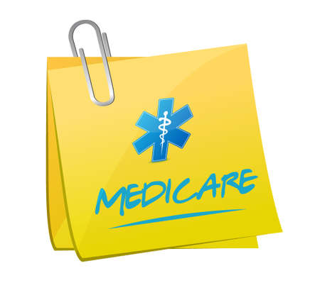 outpatient: Medicare memo post sign illustration design over white