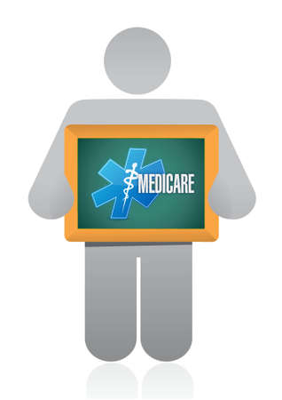 outpatient: Medicare avatar board sign concept illustration design over white Illustration