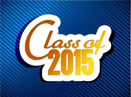 klasse van 2015 afstuderen illustratie ontwerp op een blauwe achtergrond