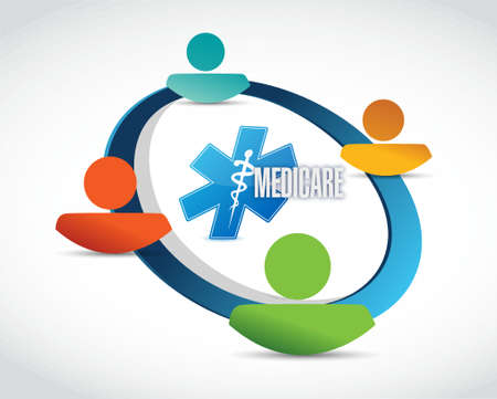 care providers: Medicare people network sign concept illustration design over white