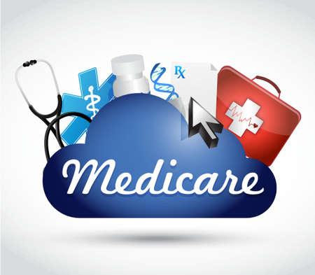 pflegeversicherung: Medicare-Cloud-Technologie-Zeichen-Konzept Illustration, Design in weiß