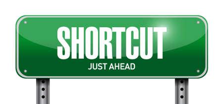 shorter: Shortcut road sign concept illustration design graphic