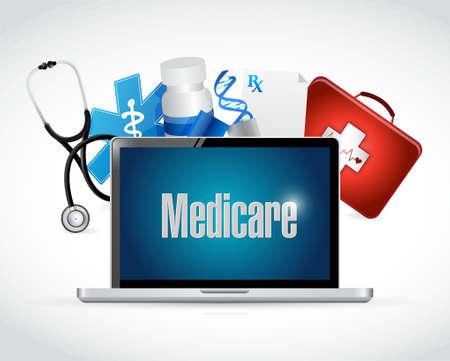 computer services: Medicare health technology sign concept illustration design over white