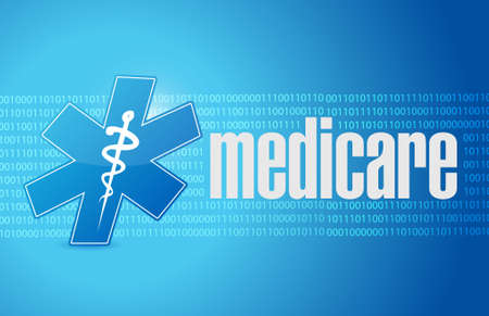 nhs: Medicare binary sign illustration design over blue