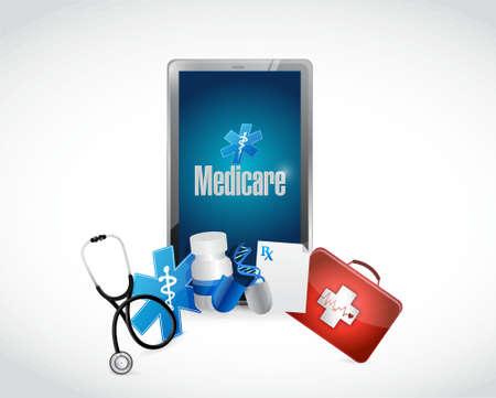 Medicare medical technology sign illustration design over white Illustration