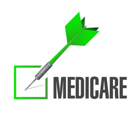 outpatient: Medicare check dart sign concept illustration design over white