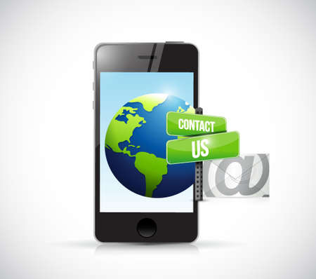 phone us: contact us mail phone sign illustration design over white Illustration