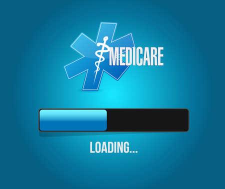 medicare: Medicare loading bar sign concept illustration design over blue