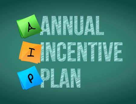 incentive: annual incentive plan post memo chalkboard sign illustration design Illustration
