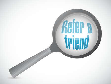 refer: refer a friend search magnify sign concept illustration design Illustration