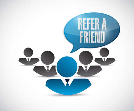 feedback link: refer a friend teamwork sign concept illustration design