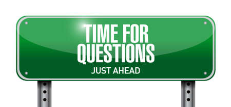 time for questions road sign illustration design over white