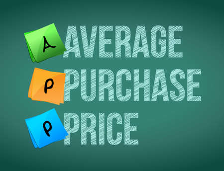 memo: average purchase price post memo chalkboard sign illustration design Illustration