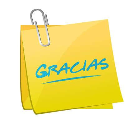response: gracias. thanks in spanish post sign message illustration design Illustration