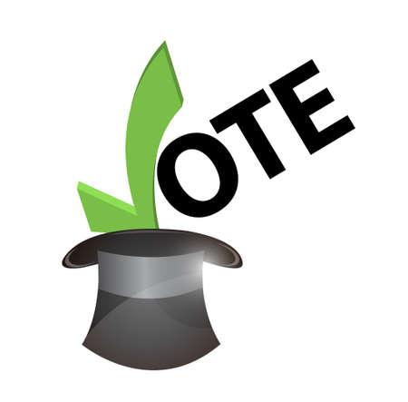 suffrage: vote inside a hat concept illustration design over white Illustration