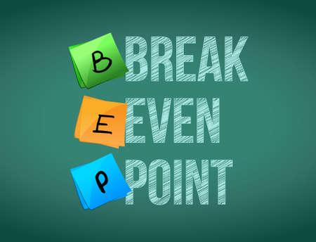 even: break even point post memo chalkboard sign illustration design Illustration