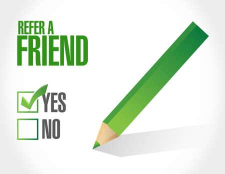 referral marketing: refer a friend sign concept illustration design Illustration