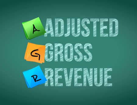 adjusted: adjusted gross revenue post memo chalkboard sign illustration design Illustration