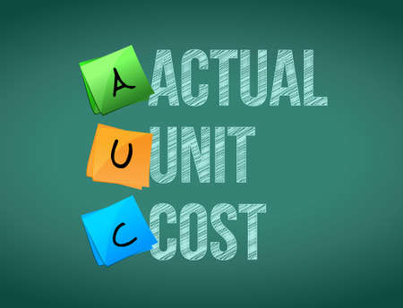 actual: actual unit cost post memo chalkboard sign illustration design Illustration