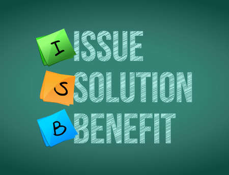 issue solution benefit post board illustration design graphic