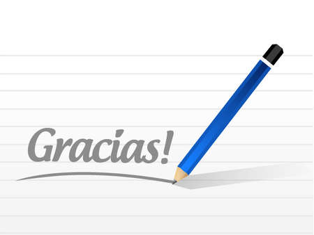 acknowledgment: gracias. thanks in spanish message illustration design