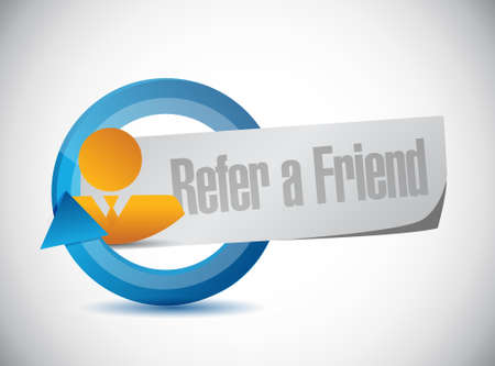 refer: refer a friend cycle sign concept illustration design