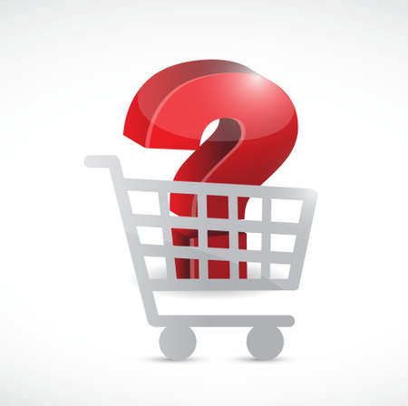 shopping questions: question mark inside a shopping cart. illustration design over white