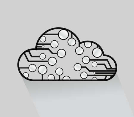 computing: cloud computing circuits illustrations over a grey background