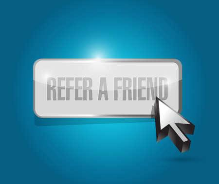 suggestive: refer a friend grey button sign concept illustration design