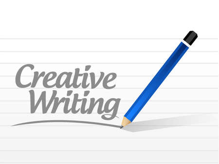 article writing: creative writing message illustration design over white