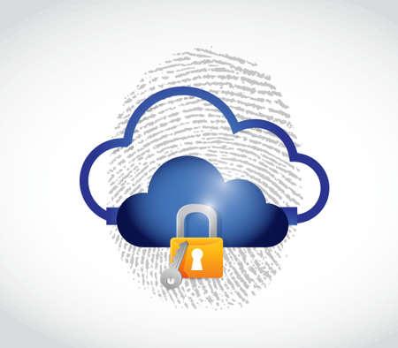 cloud computing secure technology concept illustration design over white