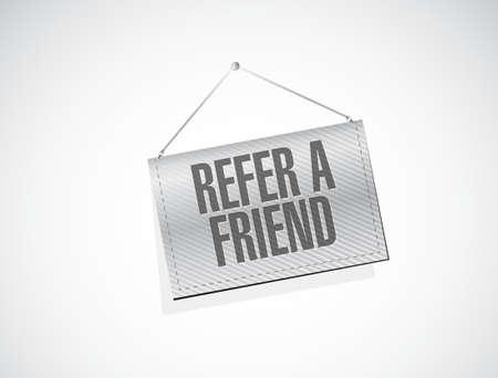 refer: refer a friend hanging sign concept illustration design